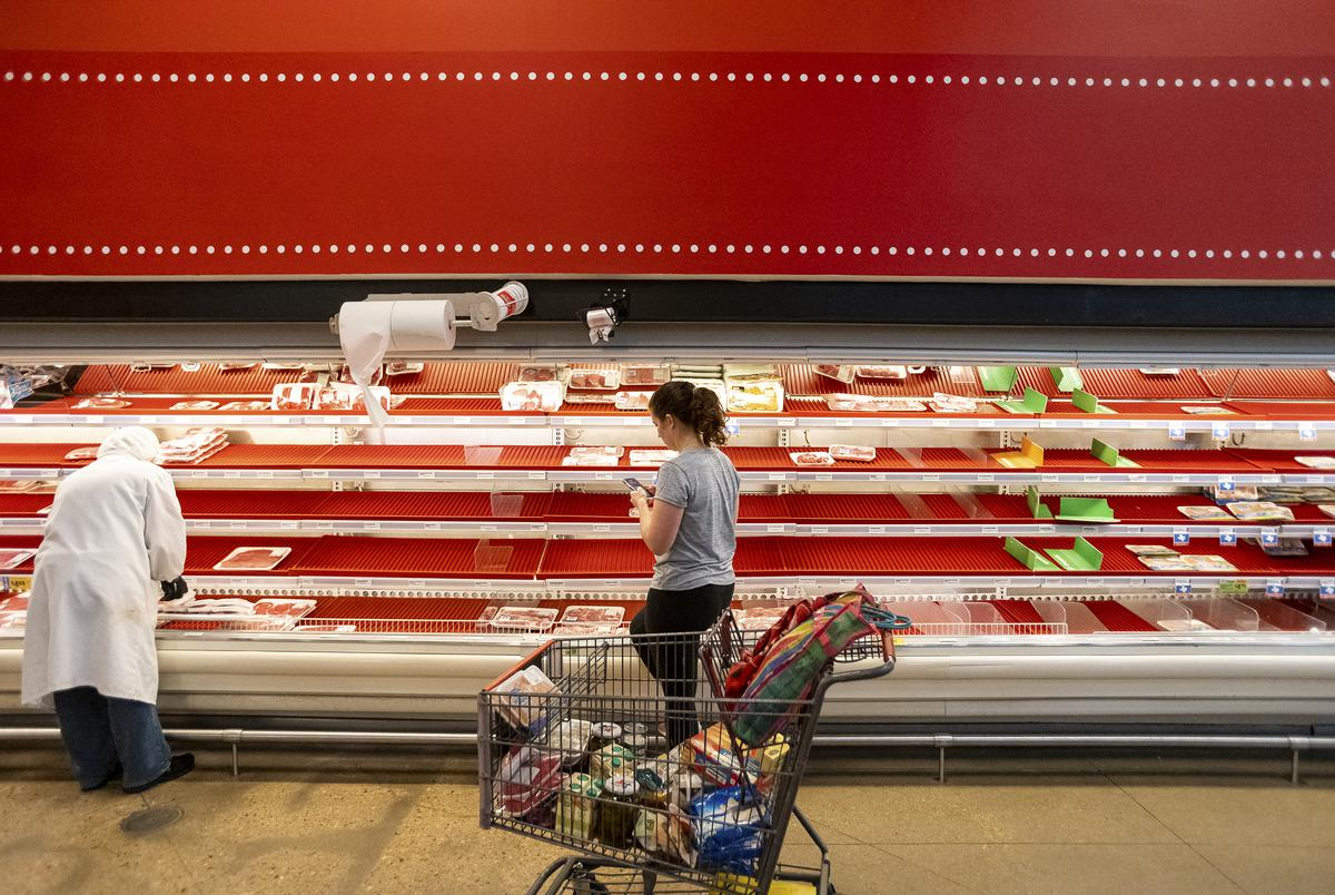 A shortage of items inside of an H-E-B grocery store in Austin.