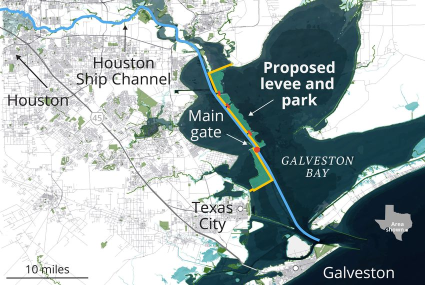 The main component of Rice University's proposed Galveston Bay Park Plan is a 25-foot-tall levee along the Houston Ship Channel that would be constructed out of clay dredged from the shipping lane. Additional dredged material would be piled behind it to form parkland.