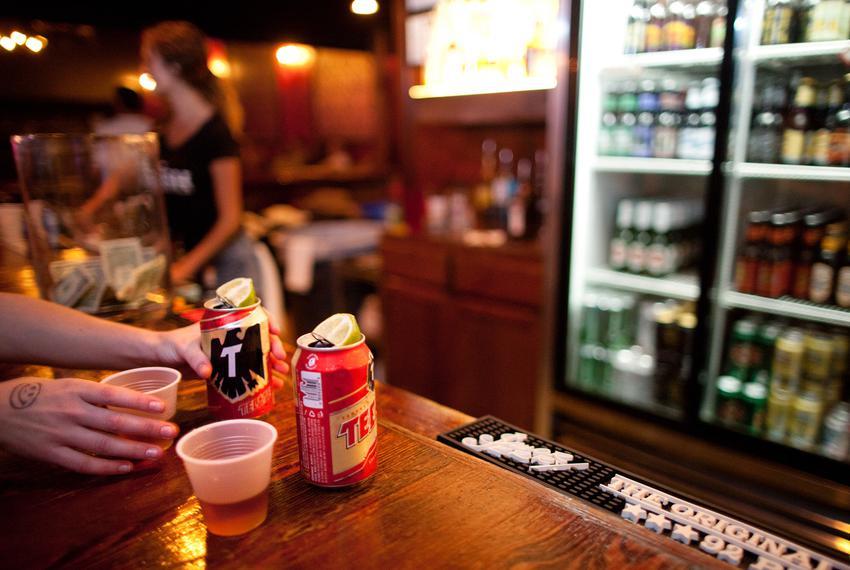 Drinks on a bar.