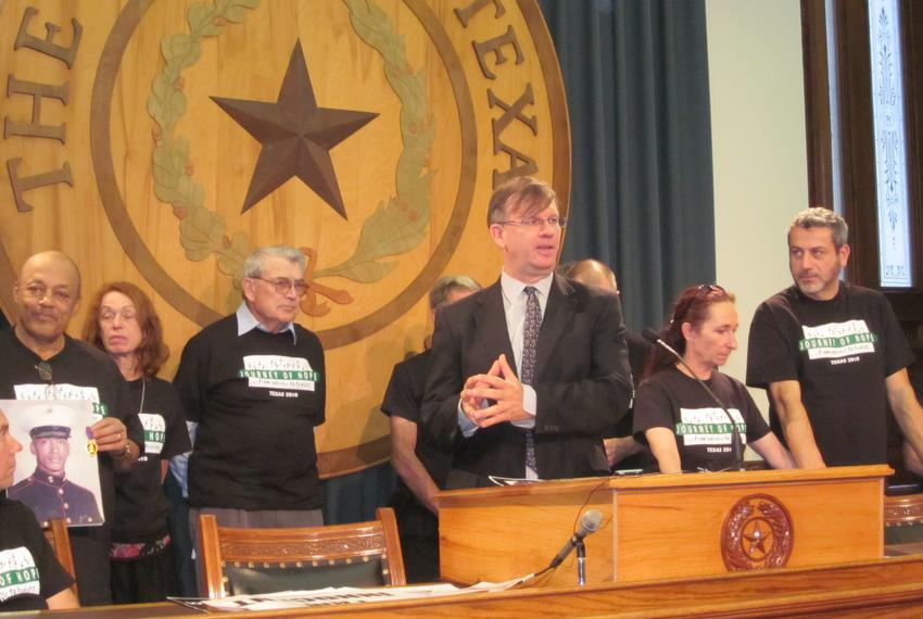 Scott Cobb with the Texas Moratorium Network speaks at a press conference for the March to Abolish the Death Penalty on Octo…