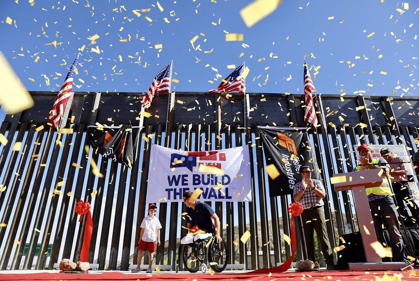 A portion of the border wall built by We Build The Wall, a private group that raised money through a GoFundMe account, on private land in El Paso's west side. The group held a rally to celebrate construction of the wall on May 30.