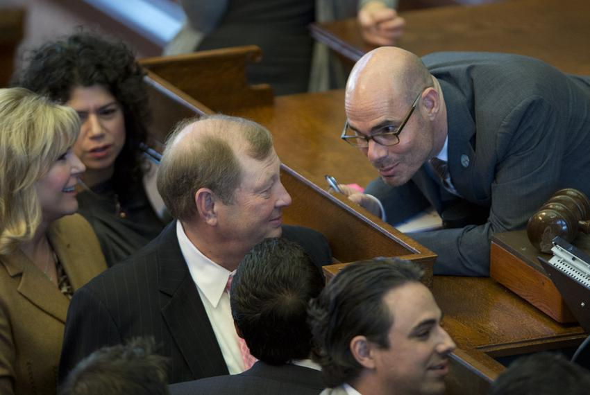State Rep. Dennis Bonnen, R-Angleton, confers with State Rep. John Otto, R-Dayton, during a point of order called on House B…