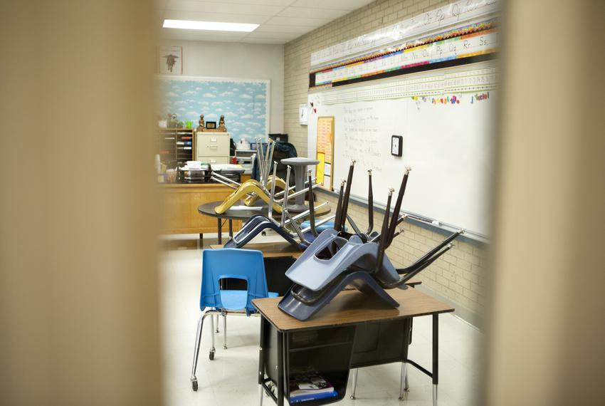 A classroom in Cactus Elementary School in Cactus on Jan. 28, 2020.