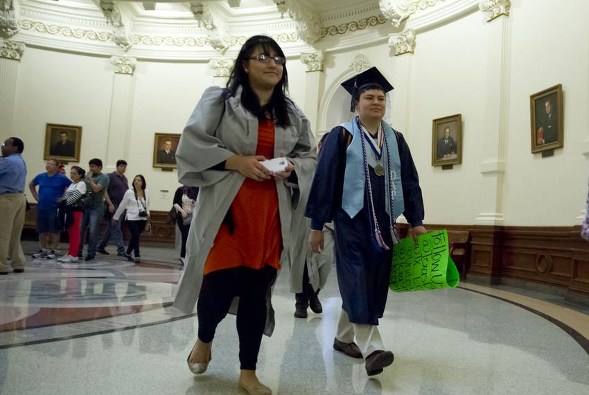 Students arrive in caps & gowns to Texas Capitol on April 6th, 2015. The Senate sub-committee on border security will listen…