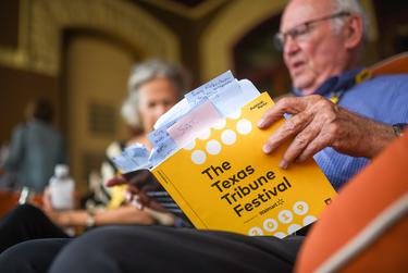 """State Rep. Celia Israel attends a meet and greet with attendees after the """"Keep Austin Jeered"""" panel at the The Texas Tribune Festival on Saturday, Sept. 28, 2019"""