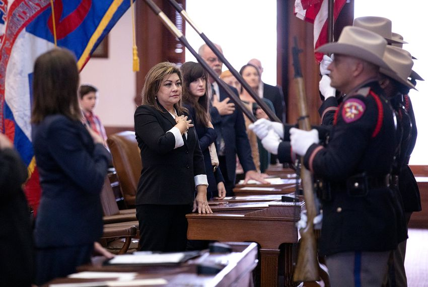 Judge Elsa Alcala at the swearing-in ceremony for incoming Judge Michelle Slaughter at the state Capitol on Jan. 11, 2019.