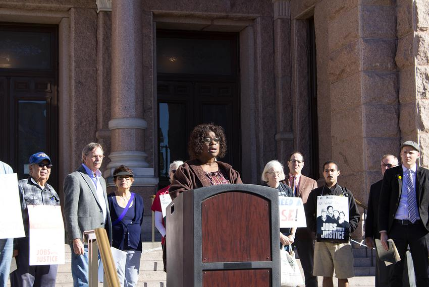 Yolanda White, a board member for the Texas State Employees Union, speaks at a press conference on January 30, 2017 in fro...