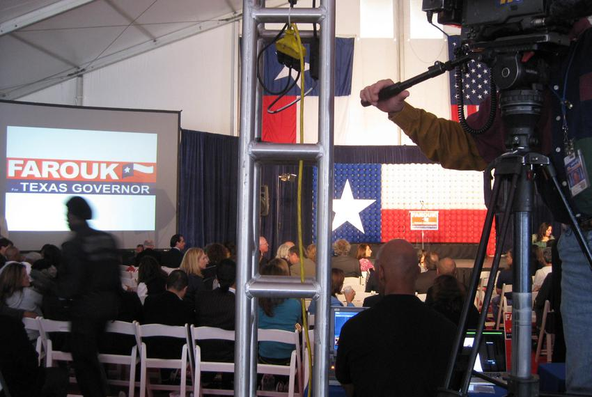 November 19, 2009. Stagecraft at the Farouk Shami for Governor announcement.