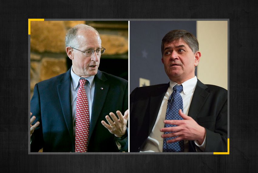 U.S. Reps. Mike Conaway (left) and Filemon Vela.