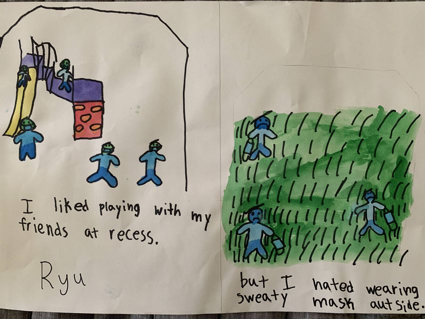 """Ryu's drawing reads, """"I liked playing with my friends at recess. But I hated wearing sweaty mask outside."""""""