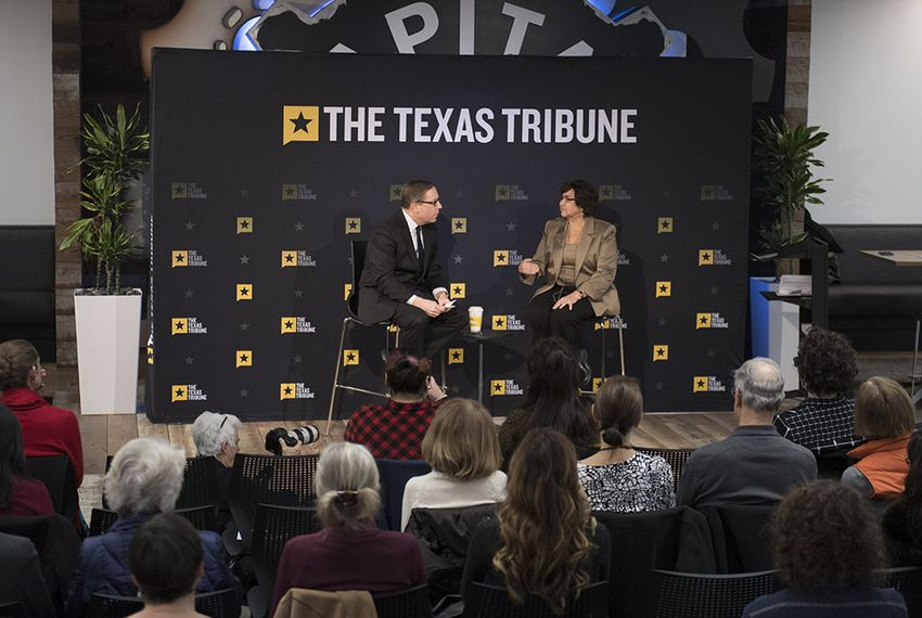 Capital Factory hosts Democratic candidate for governor Lupe Valdez talking with Texas Tribune CEO Evan Smith on Jan. 18, 2018.
