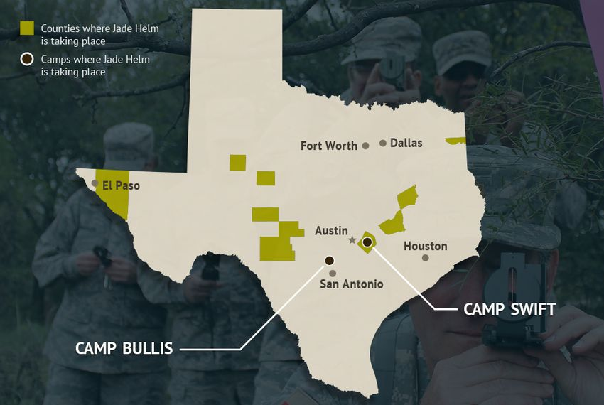 Operation Jade Helm 15, a military training exercise, began in the summer of 2015 in 12 Texas counties: Bastrop, Burleson, Brazos, Edwards, Howard, Hudspeth, Kimble, Martin, Marion, Real, Schleicher and Tom Green. It was also set to take place at Camp Bullis in San Antonio and Camp Swift in Bastrop County.