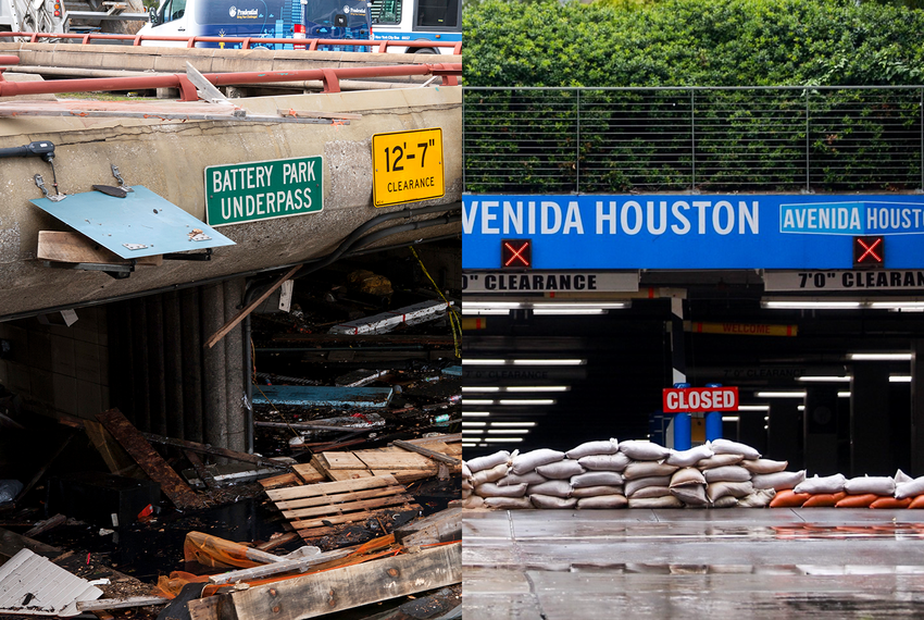 Damage from Hurricane Sandy in New York City in 2012, left, and Hurricane Harvey in Houston in 2017.