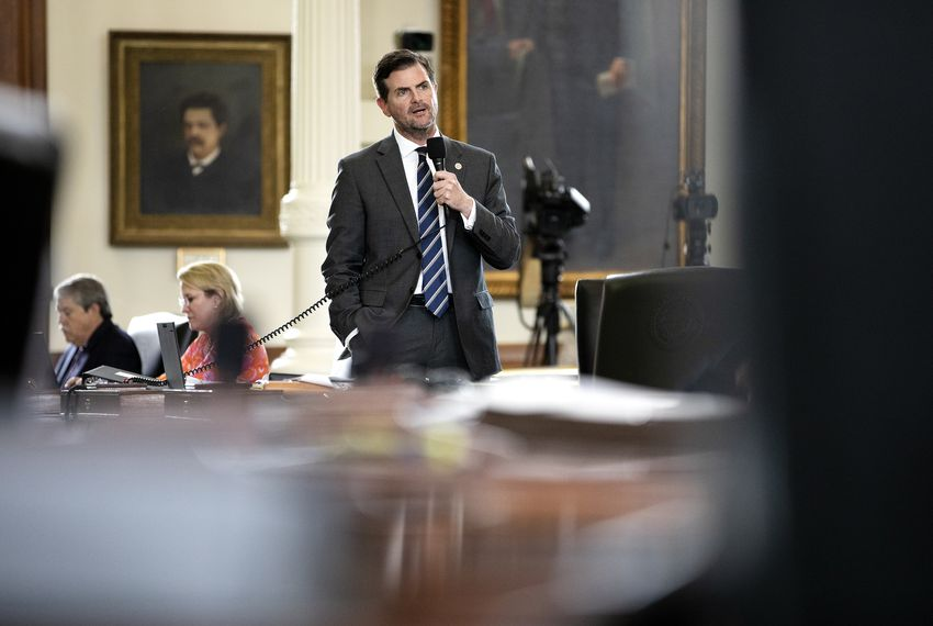State Sen. Brandon Creighton, R-Conroe, speaks in defense of Committee Substitute Senate Bill 1663, relating to the removal, relocation, or alteration of certain monuments or memorials, on the Senate floor.