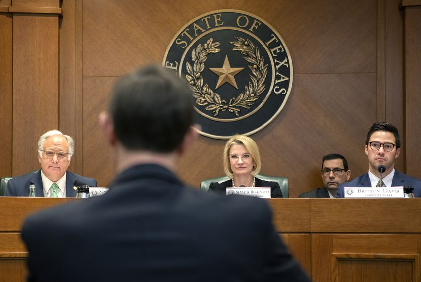 Texas Secretary of State David Whitley at a state Senate Committee on Nominations hearing on Feb. 7.