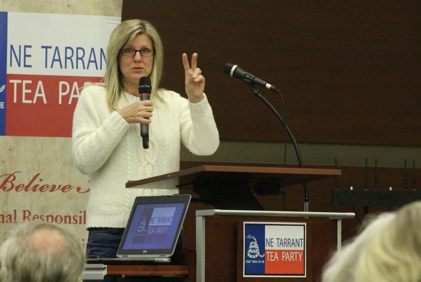 Northeast Tarrant Tea Party President Julie McCarty kicks off the political group's first monthly meeting of 2017 in at a co…