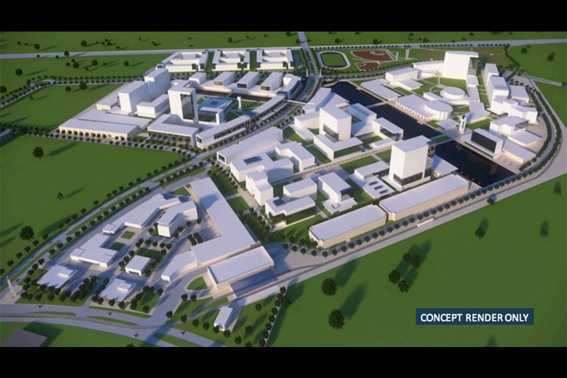 A conceptual rendering of the University of Texas System campus that Chancellor Bill McRaven hopes to build in Houston.