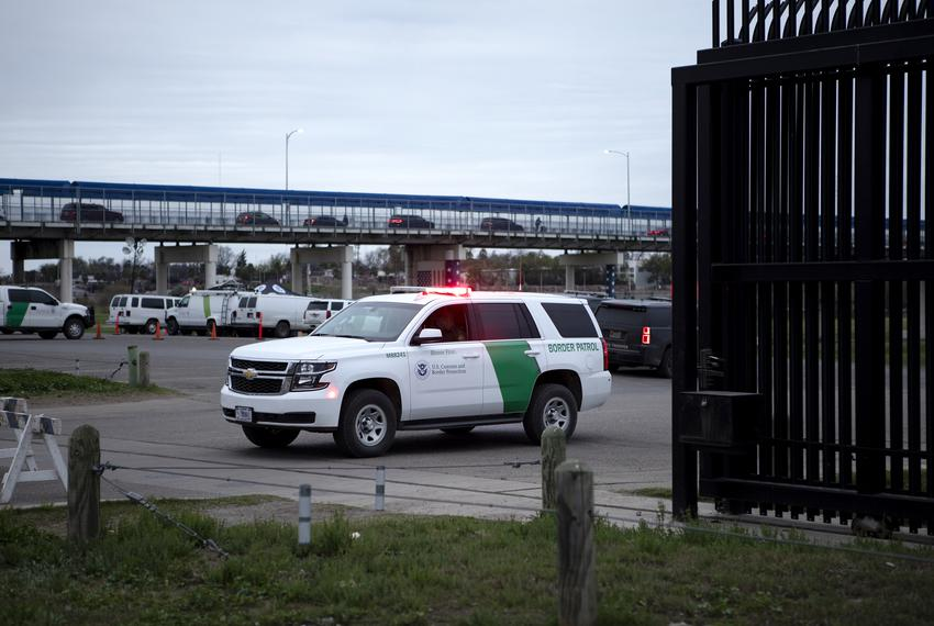 A Customs and Border Protection vehicle is located at the entrance to Shelby Park in Eagle Pass on Feb. 8, 2019.