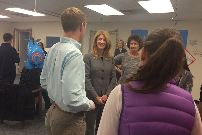 Former state Sen. Wendy Davis stumps for Democratic presidential hopeful Hillary Clinton in New Hampshire.