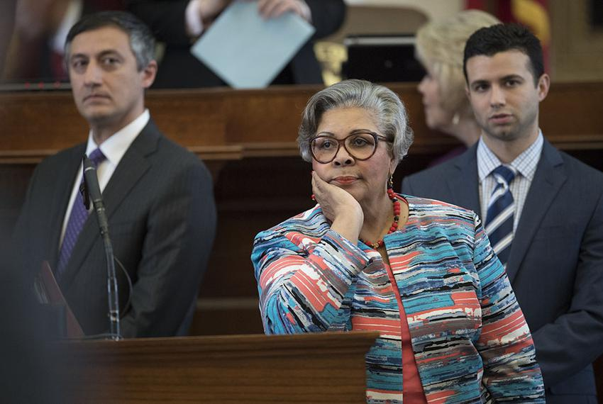 Longtime State Rep. Senfronia Thompson, D-Houston, appears exasperated by Liberty Caucus attempts to disrupt normal House bu…