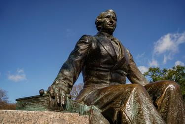 A bronze statue of Judge Baylor, the founder of Baylor University, on his namesake university in Waco, on Dec. 23, 2020.