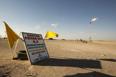 A natural gas flare burns in Pecos County in West Texas.