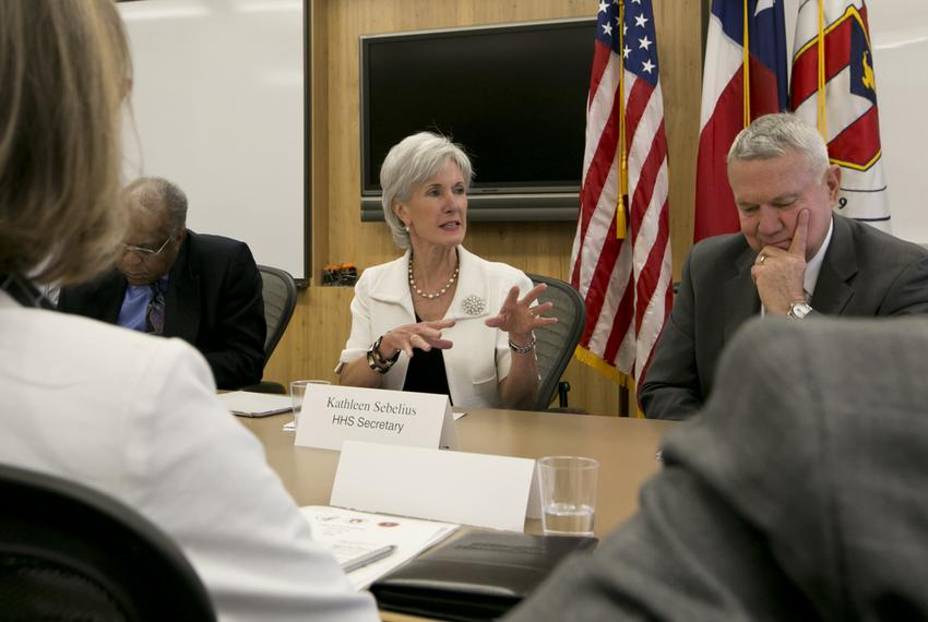 U.S. Health and Human Services Secretary Kathleen Sebelius met in Austin with leaders from the health care industry to discu…