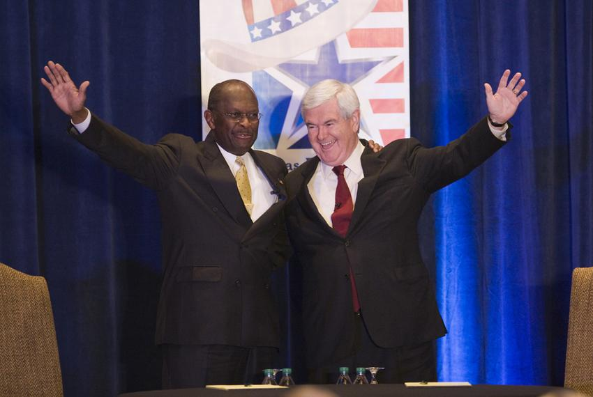 GOP PResidential hopefuls, Herman Cain and Newt Gingrich before Lincoln-Douglas type debate on November 5th, 2011 The Woodla…