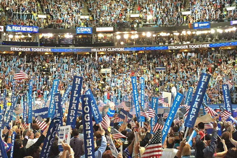 Democrats react to Hillary Clinton becoming the first woman to accept a major party nomination on July 28, 2016 in Philadelphia.