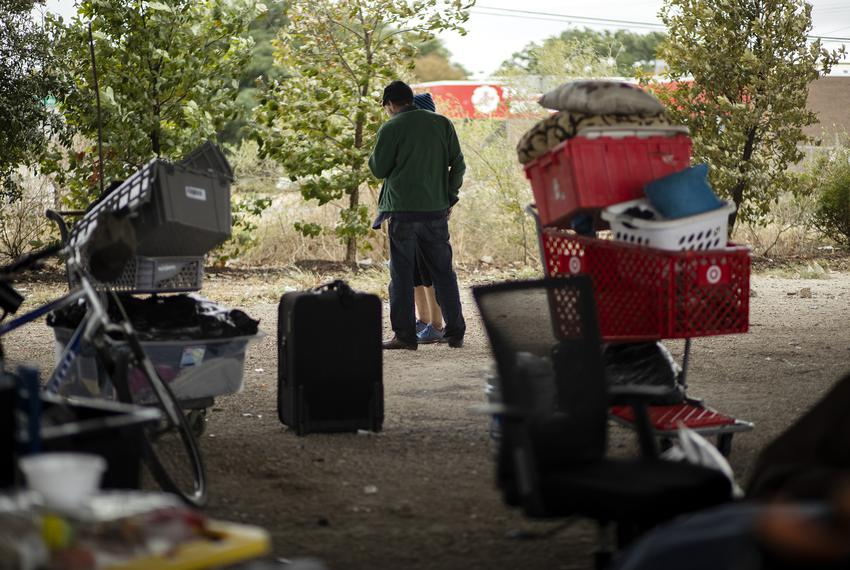 A homeless encampment under Ben White Boulevard and Lamar Avenue on Nov. 7, 2019.