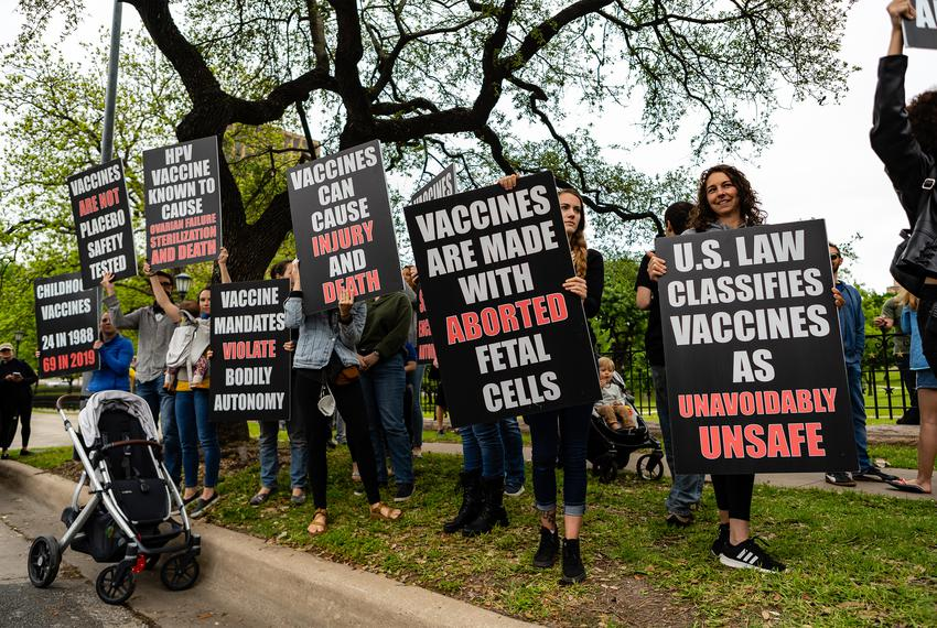 Anti-vaccination protestors at the Capitol in Austin on April 18, 2020.