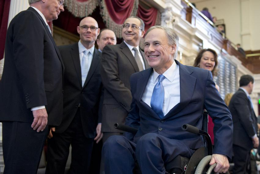 Gov. Greg Abbott leaves the House dais after delivering his State of the State speech on Feb. 17, 2015.