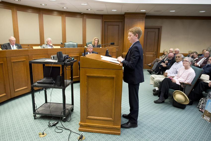 Student Jacob Hale testifies for Rep. Donna Howard's bill changing the name of Confederate Heroes Day during a committee hea…