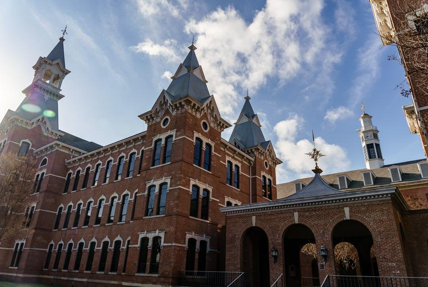 The Old Main building behind the Burleson Quadrangle at Baylor University in Waco on Dec. 23, 2020.