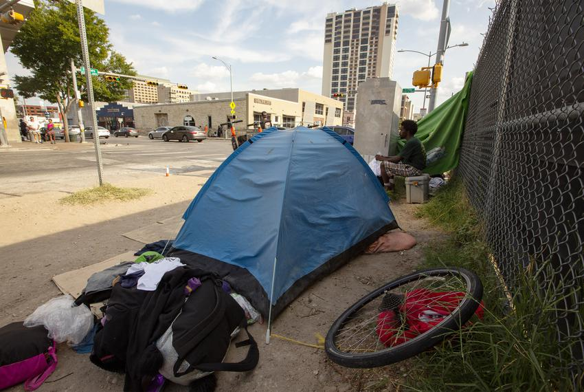 Tents set up near the Austin Resource Center for the Homeless, or ARCH, in downtown Austin on Aug. 2, 2019.