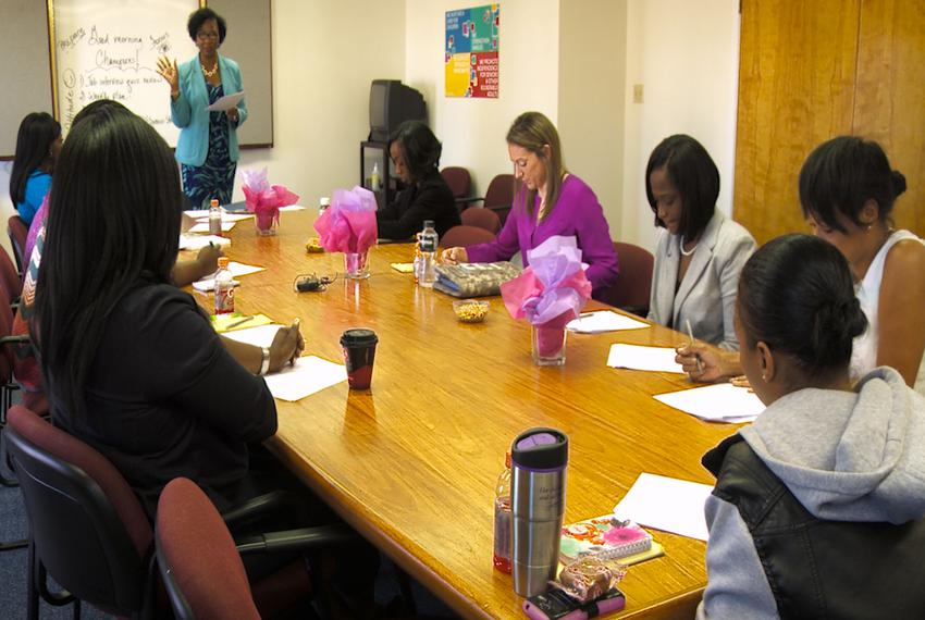 Female veterans take part in The Lotus Project, a nonprofit group that serves women veterans in Houston, TX