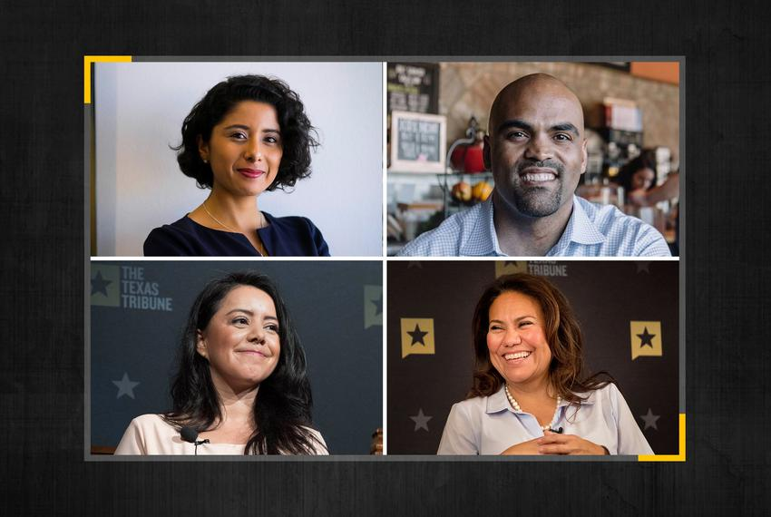 Clockwise from top left, Harris County Judge Lina Hidalgo, U.S. Rep. Colin Allred, D-Dallas, U.S. Rep. Veronica Escobar, D-E…
