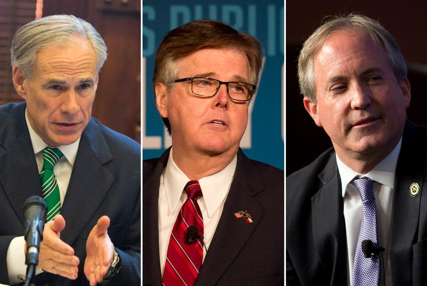 Left to right: Gov. Greg Abbott, Lt. Gov. Dan Patrick and state Attorney General Ken Paxton.