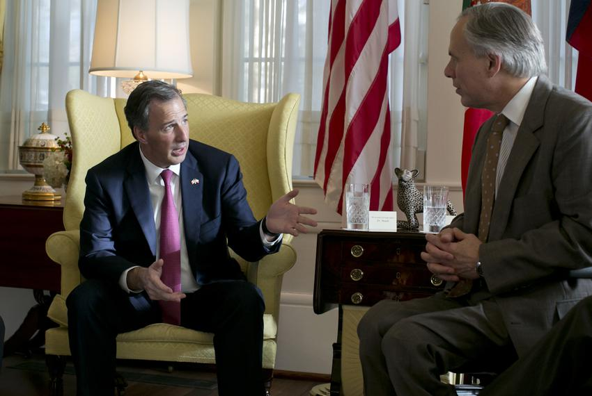 Secretary of Foreign Affairs of Mexico José Antonio Meade Kuribreña and Gov. Greg Abbott at the Governor's Mansion on July 9…