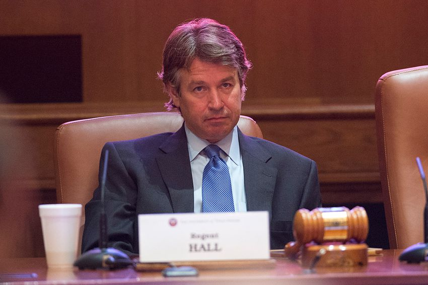 Regent Wallace Hall, Jr. at a regular meeting of the University of Texas Board of Regents in Ashbell Smith Hall in Austin.