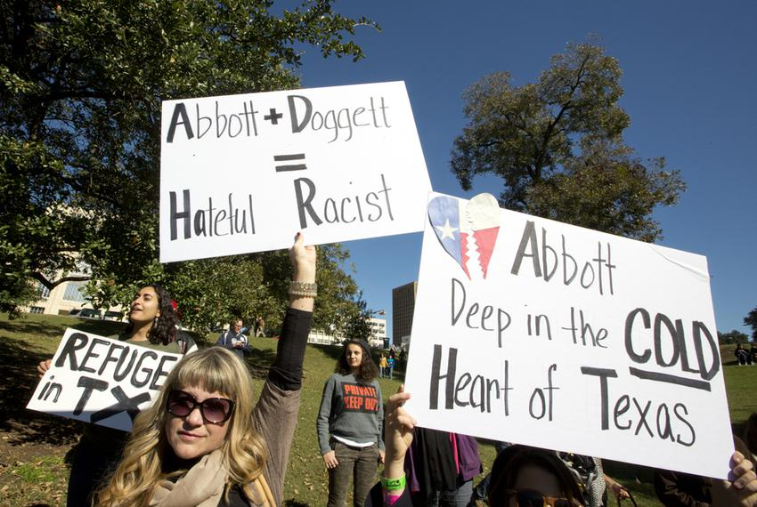 Rally at Wooldridge Park in Austin to protest Gov. Abbott's decision on Syrian refugees on Nov. 22, 2015