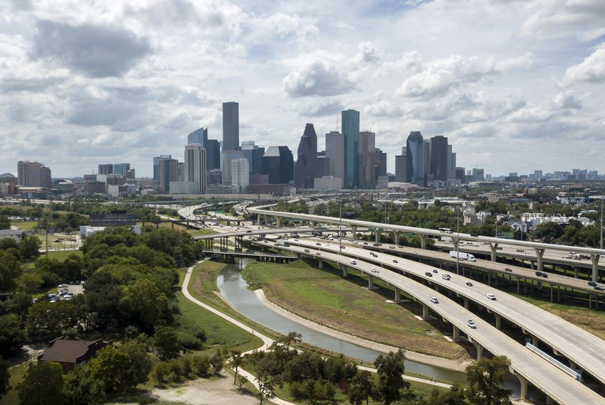 An aerial view of I-45 and Downtown Houston on Sept. 16.