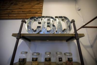 A display case inside the Custom Botanical Dispensary in Austin.
