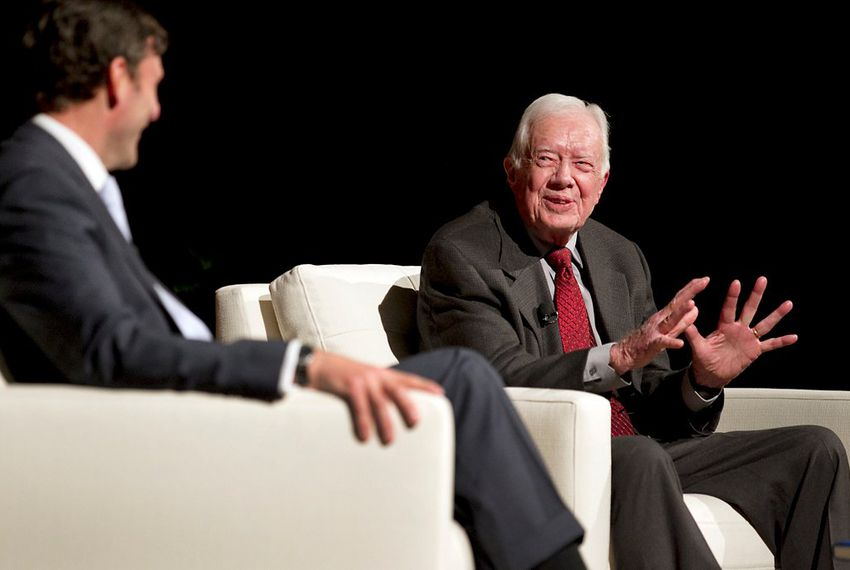 Mark Updegrove interviews former President Jimmy Carter at the LBJ Library on April 8, 2014.