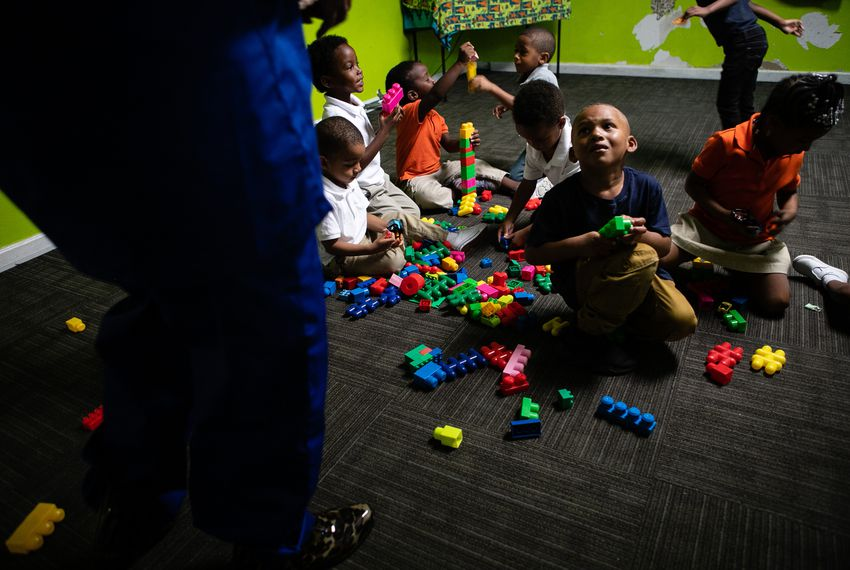 With a flurry of colors and activity, building time started the day for preschoolers at Greater Cornerstone Academy in North Dallas on Oct. 9, 2018.