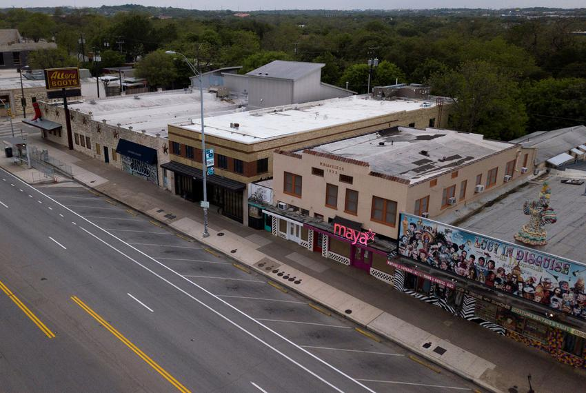 Shuttered businesses on South Congress during the coronavirus pandemic. April 2, 2020.