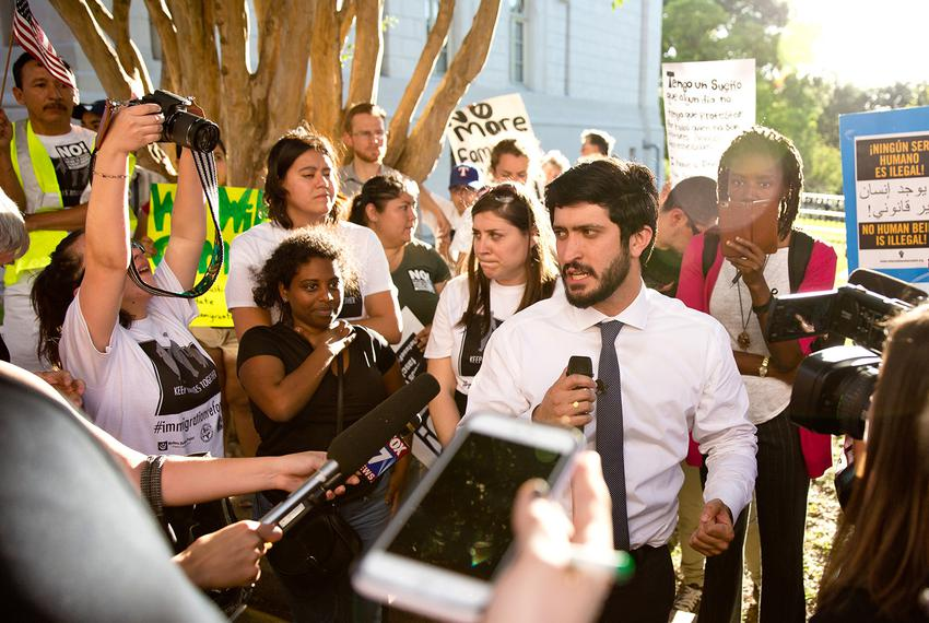 """Austin City Council memberGregorio Casar speaks to opponents of the""""sanctuary"""" jurisdictions bill moving through the Leg..."""