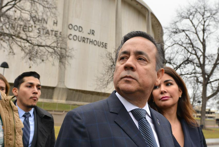 State Sen. Carlos Uresti, D-San Antonio, and his wife Lleana leave the federal courthouse in San Antonio after being convict…