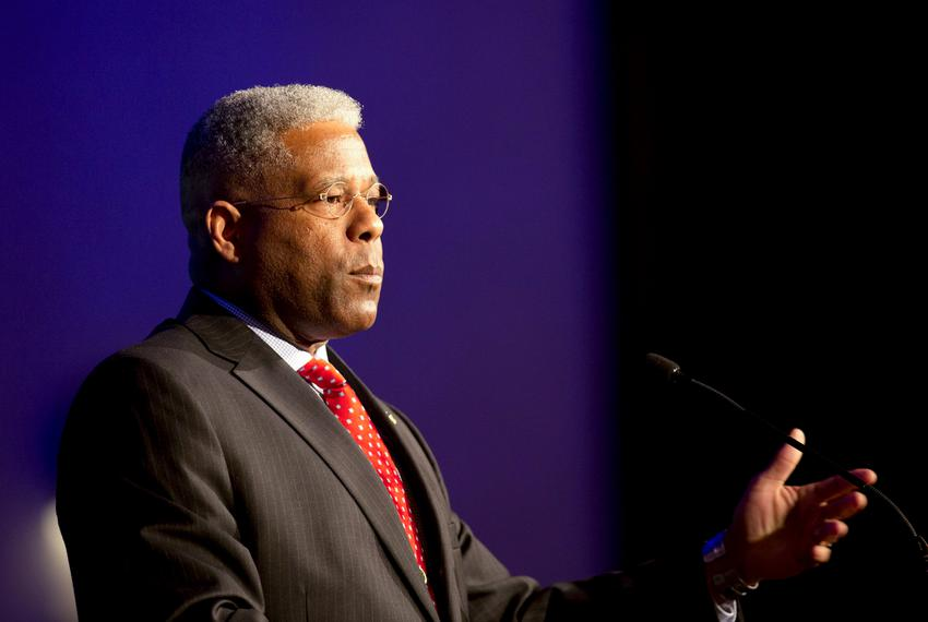 Allen West, former Florida congressman and candidate for chairman of the Republican Party of Texas, speaks at the Texas Publ…