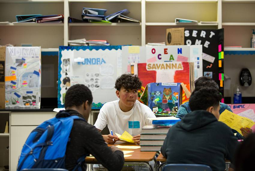 Daniel Saldana, 9th grade student at Elsik High school, looks up during a quiz about biomolecules during an afternoon inte...